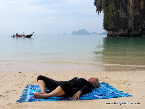 Yin Yoga Lying Butterfly Pose, Pranang Beach, Railay, Thailand