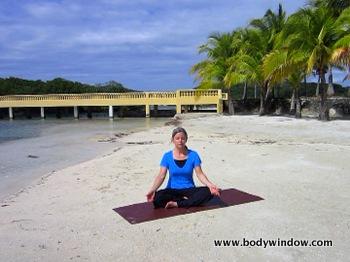 Meditation on a beach in Roatan, Honduras