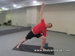 Modified Triangle Pose with a Yoga Block