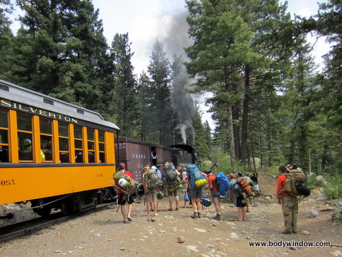 Backpackers on the Durango-Silverton Narrow Gauge Railroad