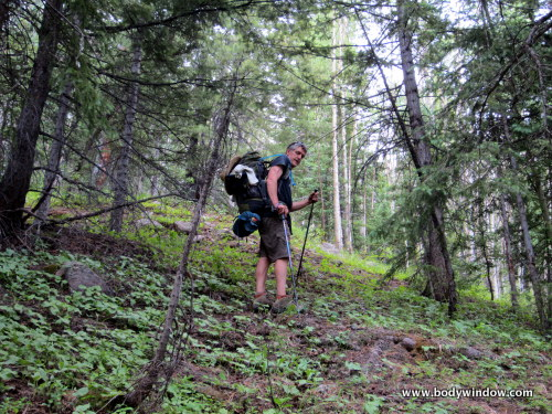 The Class 2 bushwhack, ever higher in the North Pigeon Creek Drainage