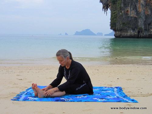 First Edge, Seated Forward Bend Pose, Pranang Beach, Railay, Thailand
