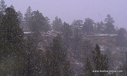 Snowing on Cliff