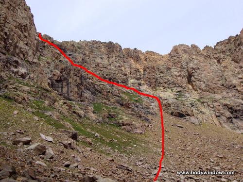 South Face Route on Jupiter Mountain, San Juan Mountains, Colorado
