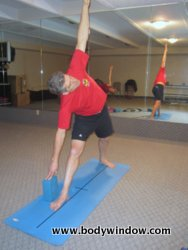 Triangle Pose with Yoga Block Outside Foot
