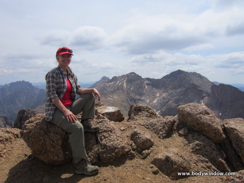 Elle Bieling on the summit of Turret Peak