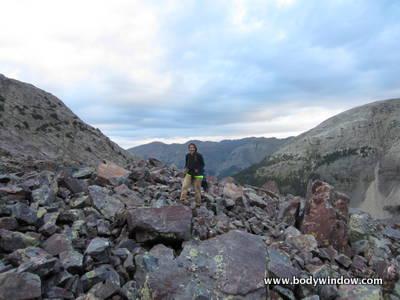 Boulder fields on Vestal Peak's South Face Route