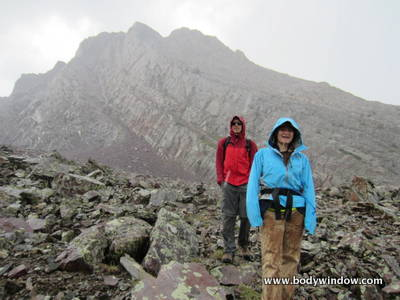 Arrow Peak, hail on the descent of Vestal Peak