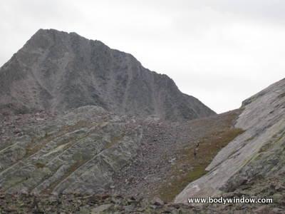 Approach to Wham Ridge base on Vestal Peak