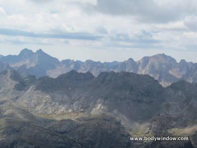 Windom, Sunlight and Eolus Peaks from Vestal Peak's Summit