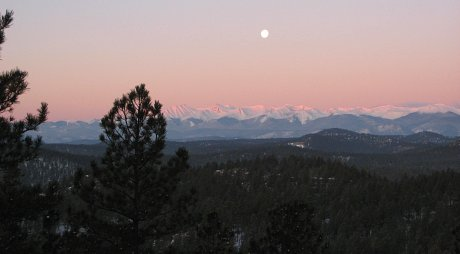 Moonset at Sunrise, Sangre de Cristo Mountains, CO
