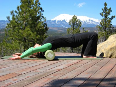 Foam roller exercise for the shoulder, West Spanish Peak in the mountains of Southern Colorado