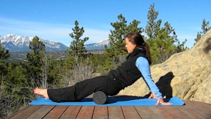 Foam Rolling Hamstrings, Spanish Peaks View, Colorado