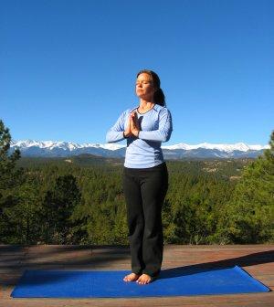 Prayer Pose in Tadasana or Mountain Pose