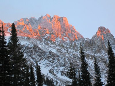 Nokhu Crags in the alpenglow, Colorado