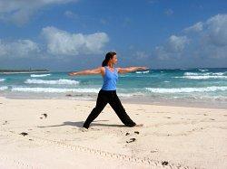Yoga, Modified Warrior II Pose, Xpuha Beach, Playa del Carmen, Mexico