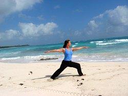 Yoga, Warrior II Pose, Xpuha Beach, Playa del Carmen, Mexico