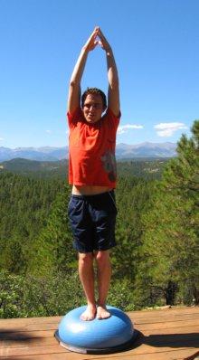 Standing Balance on Bosu Ball, Arms over Head