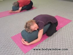 Child's Pose, with Yoga Bolster, Head Left