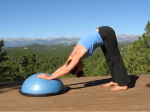 Yoga Downward Dog on Bosu Balance Trainer