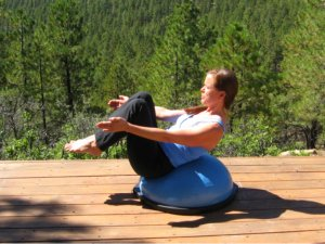 Modified Boat Pose on the Bosu Ball