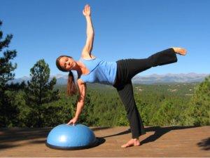 Yoga Half Moon Pose on the Bosu Balance Trainer.