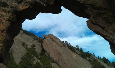 Looking through the Royal Arch, Flatirons area, Boulder, CO