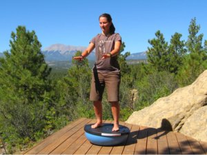 Standing on the Bosu Balance Trainer as a Wobble Board
