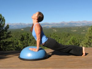 Yoga Upward Dog on the Bosu Balance Trainer.