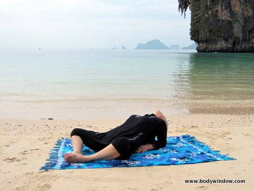 Yin Yoga, Fish Pose, Pranang Beach, Railay, Thailand
