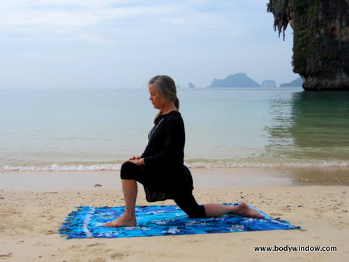 Yin Yoga Dragon Pose, Starting in the Low Lunge, Pranang Beach Railey, Thailand