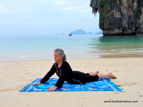 Yin Yoga's Seal Pose, Pranang Beach, Railay, Thailand