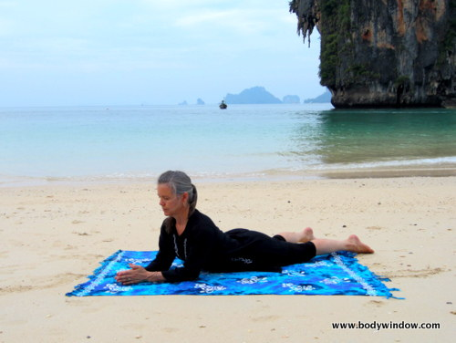 Yin Yoga's Sphinx Pose, with Hands in Prayer Position, Pranang Beach, Railay, Thailand