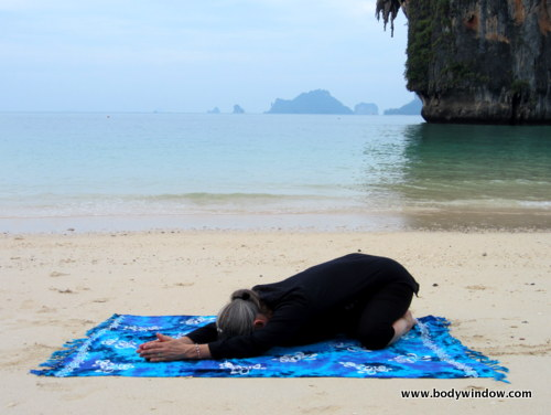 Wide-Knee Childs Pose, Pranang Beach, Railay, Thailand