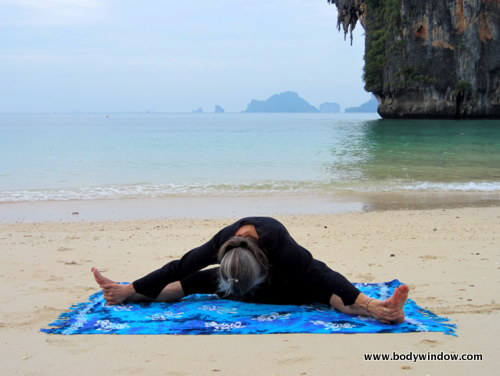 Yin Yoga Dragonfly Pose, Pranang Beach, Railay, Thailand