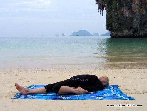 Yin Yoga, Half-Saddle Pose, Full Lying Position