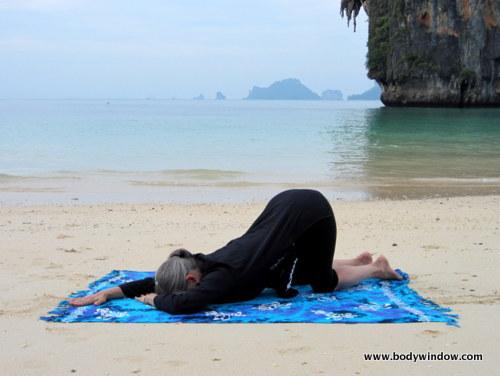 Yin Yoga Quarter-Dog Pose, Pranang Beach, Railay, Thailand