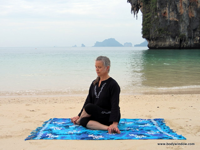 Lateral Shoelace Pose Starting Position, Yin Yoga, Pranang Beach, Railay, Thailand
