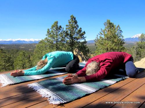 Wide-Legged Child's Pose with Sangre de Cristo Mountains, Southern Colorado